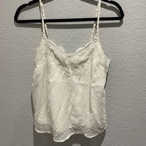 White silky lace tank top